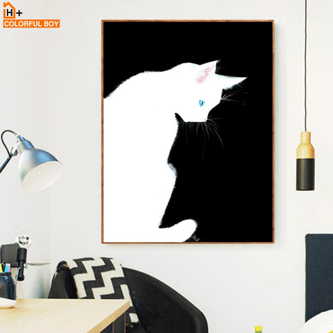 Black White Cat Wall Art Canvas Painting Nordic Posters And Prints Animals Pop Art Wall Pictures For Living Room Kids Room Decor