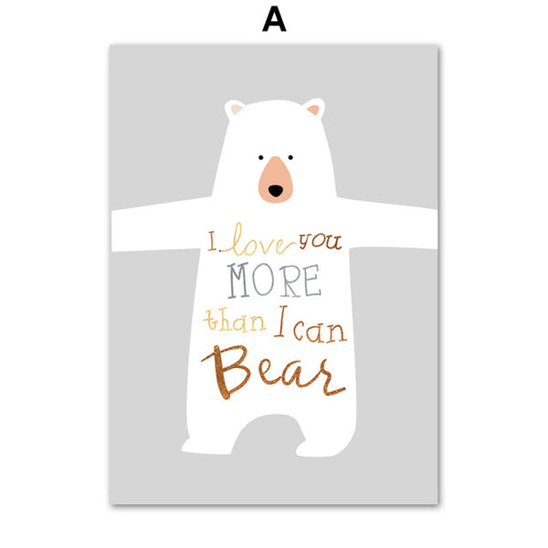 White Bear Hug Quotes Wall Art Canvas Painting Nordic Posters And Prints Cartoon Animal Wall Pictures Baby Kids Room Child Decor
