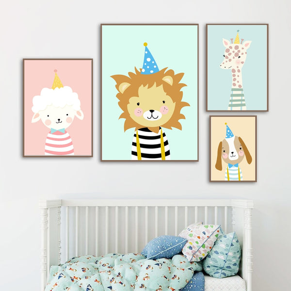 Lion Dog Giraffe Sheep Wall Art Canvas Painting Cartoon Nordic Posters And Prints Wall Pictures Boy Girl Baby Kids Room Decor