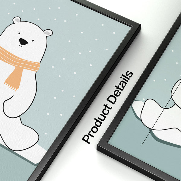 Polar Bear Penguin Wall Art Canvas Painting Nordic Posters And Prints Pop Art Cartoon Animals Wall Pictures Baby Kids Room Decor