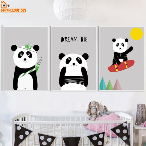 Panda Dream Big Quotes Wall Art Canvas Painting Nordic Posters And Prints Black White Animals Wall Pictures Baby Kids Room Decor