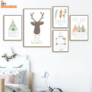 Deer Tent Arrow Feather Dream Wall Art Canvas Painting Cartoon Nordic Posters And Prints Wall Pictures Boy Girl Kids Room Decor