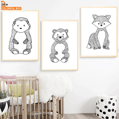 Fox Bear Hedgehog Wall Art Canvas Painting Nordic Posters And Prints Black White Animal Wall Pictures Baby Kids Room Home Decor