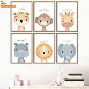 Baby Tiger Monkey Giraffe Lion Nursery Wall Art Canvas Painting Nordic Posters And Prints Wall Pictures Girl Boy Kids Room Decor