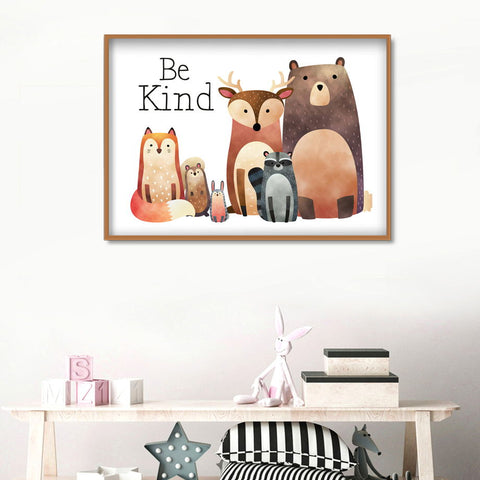 Animals Bear Fox Deer Cartoon Nordic Posters And Prints Wall Art Canvas Painting Nursery Wall Pictures Girl Boy Kids Room Decor