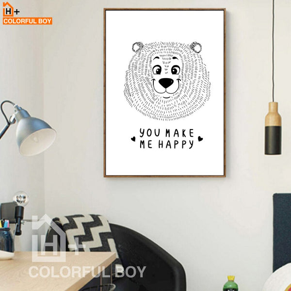 Bear Happy Quotes Wall Art Canvas Painting Nordic Posters And Prints Black White Animals Wall Pictures Kids Room Bedroom Decor