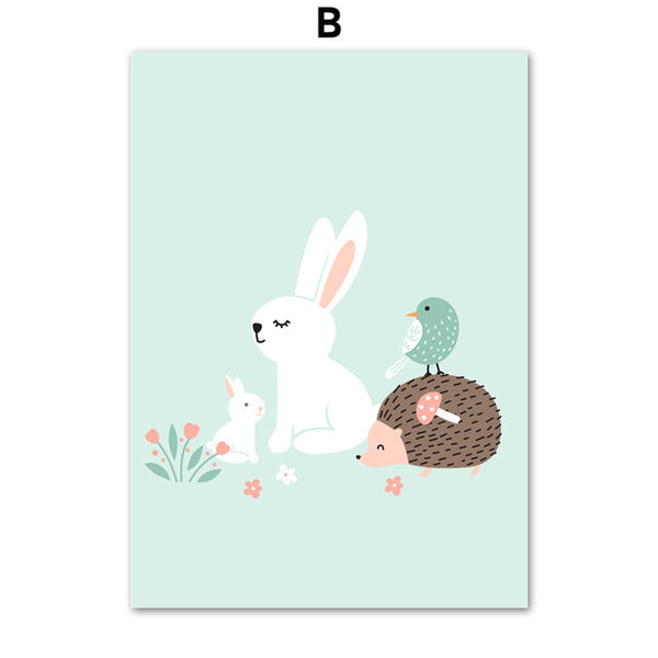 Watercolor Rabbit Hedgehog Wall Art Canvas Painting Nordic Posters And Prints Cartoon Animal Wall Pictures Baby Kids Room Decor