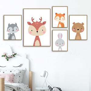 Rabbit Fox Deer Bear Squirrel Nursery Wall Art Canvas Painting Nordic Posters And Prints Wall Pictures Girl Boy Kids Room Decor