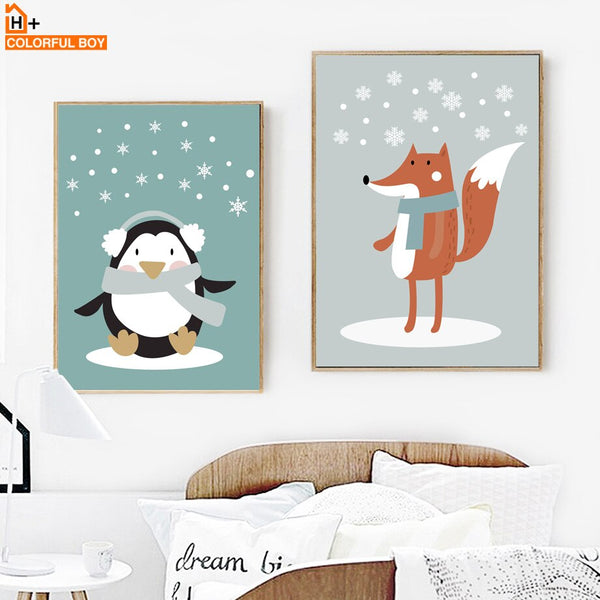 Cartoon Fox Penguins Raccoons Wall Art Canvas Painting Nordic Posters And Prints Animals Wall Pictures Kids Room Bedroom Decor