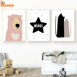 Bear Fox Cat Star Wall Art Canvas Painting Nordic Posters And Prints Animals Canvas Art Wall Pictures Baby Kids Room Home Decor