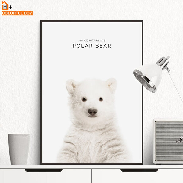 Rabbit Polar Bear Wall Art Print Canvas Painting Nordic Posters And Prints Animal Canvas Art Wall Pictures Baby Kids Room Decor