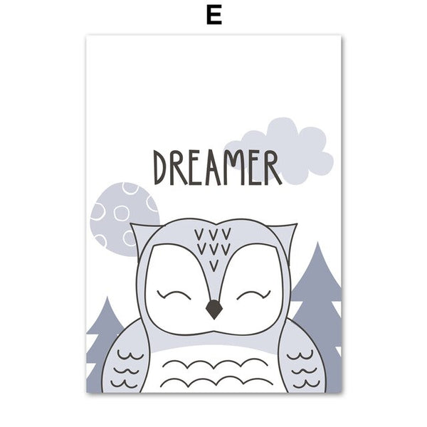 Deer Owl Bear Unicorn Dream Quotes Wall Art Canvas Painting Nordic Posters And Prints Animals Wall Pictures Baby Kids Room Decor