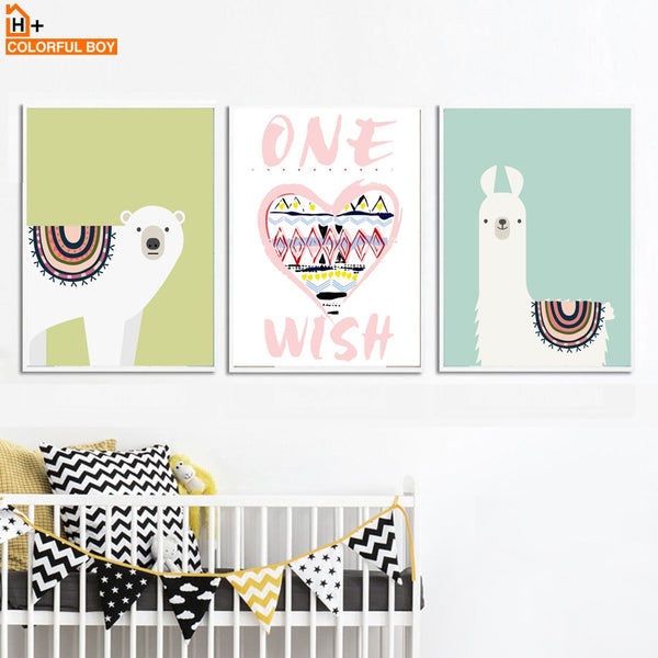Bear Alpaca Heart Quotes Wall Art Canvas Painting Nordic Posters And Prints Animals Pop Art Wall Pictures Baby Kids Room Decor