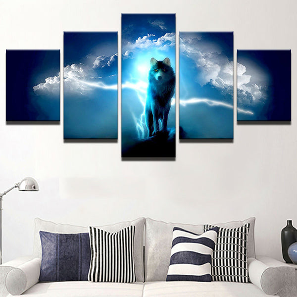 Printed Frame Modular Picture Large Canvas Painting 5 Panel Animal Wolf For Bedroom Living Room Home Wall Art Decoration