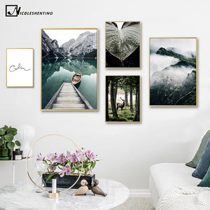 Mountain Lake Reflection Picture Nature Scenery Scandinavian Poster Nordic Decoration Print Landscape Wall Art Canvas Painting