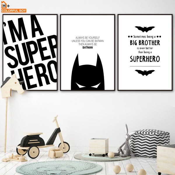 COLORFULBOY Super Hero Batman Modern Black White Wall Art Canvas Painting Posters And Prints Wall Pictures For Living Room