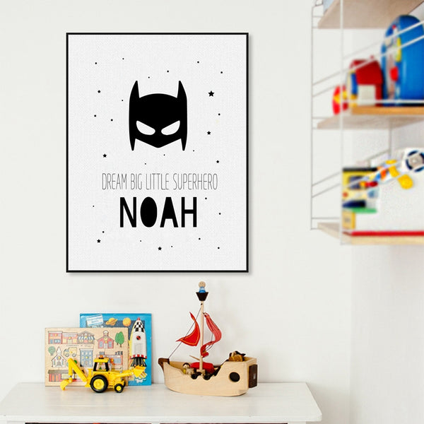 Personalised Superhero Name Boys Canvas Art Print and Poster , Custom Batman Name Canvas Painting Baby Boys Room Wall Decor