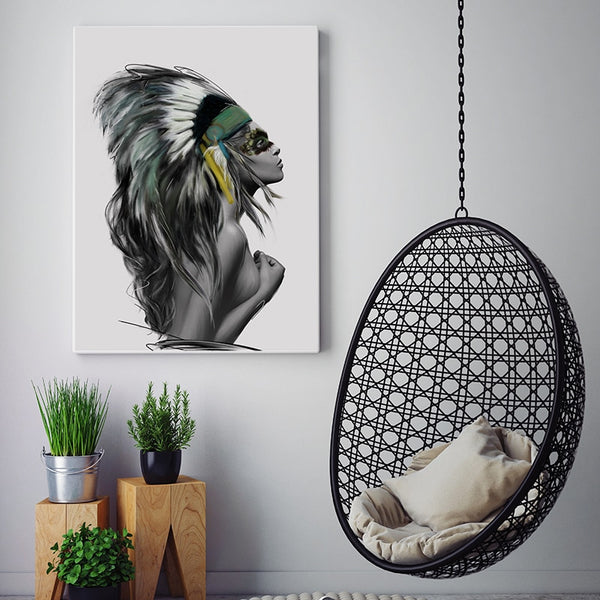 Simple Fashion Abstract Feather Tribal Girl Art Canvas Painting Poster Print Modern Wall Picture Home Living Room Decoration