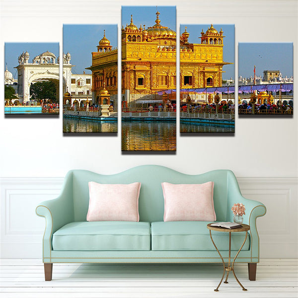 Canvas Painting Home Decorative Modular 5 Panel Golden Temple HD Print Picture Wall Art Prints Panels Poster For Living Room