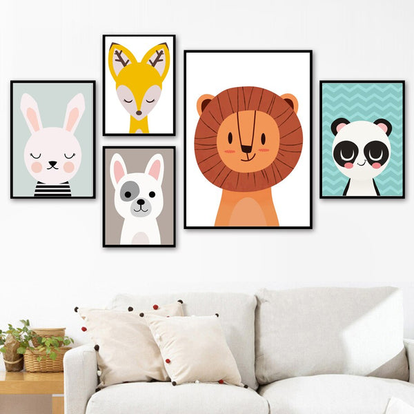 Baby Lion Rabbit Deer Panda Dog Wall Art Canvas Painting Nordic Posters And Prints Animal Wall Pictures For Baby Kids Room Decor