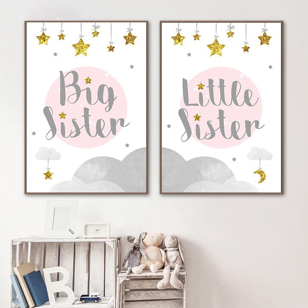 Big Sister Funny Child Poster Canvas Wall Art Nursery Quotes Print Painting