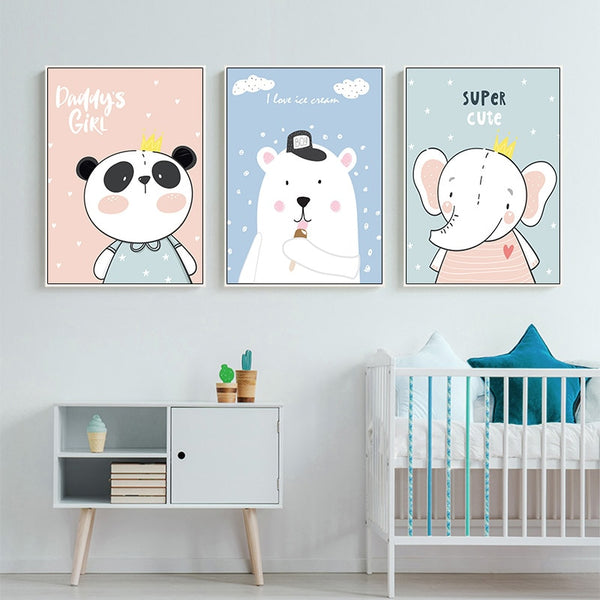 Baby Nursery Wall Art Canvas Posters Prints Cartoon Elephant Bear Painting Nordic Kids Decoration Picture Children Bedroom Decor