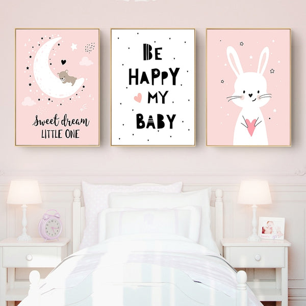 Baby Nursery Wall Art Canvas Poster Print Cartoon Rabbit Moon Painting Nordic Kids Decoration Picture Children Bedroom Decor