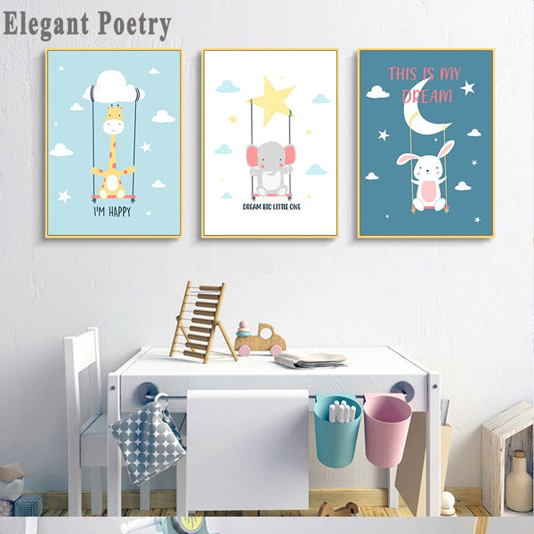 Kawaii Bear Giraffe Rabbit Canvas Art Posters Woodland Animal Cartoon Nursery Prints Painting Wall Picture Baby Room Decoration