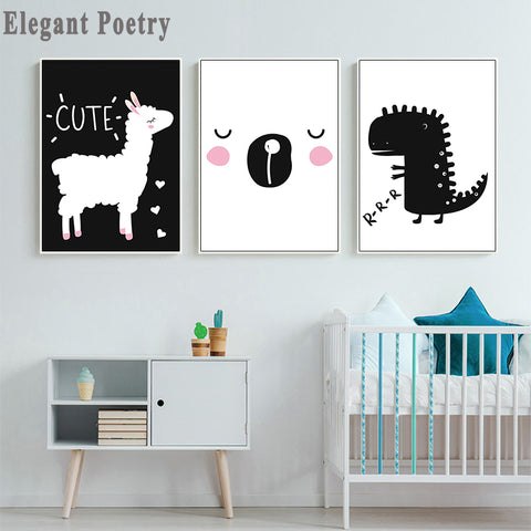 Baby Nursery Wall Art Canvas Painting Posters Black White Sheep  Dinosaur Prints Nordic Kids Decoration Pictures Bedroom Decor