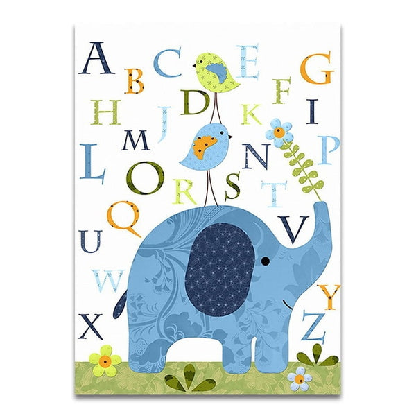 Cute Cartoon Animal Elephant Letter Canvas Art Painting Posters Prints Decorative Picture Baby Bedroom Nursery Wall Decoration