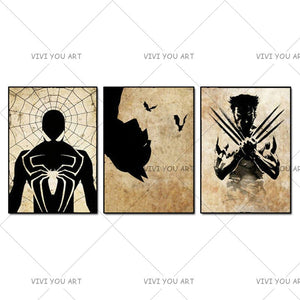 Handpainted 3 Panes lAbstract Canvas Painting Super Hero Paintings Picture Wall Art (Iron Man, Batman, Spiderman)