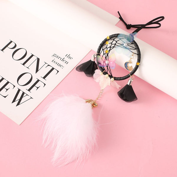 white  black  small dream catcher mini car dream catcher  star moon dreamcatcher  car jewelry room decoration gift for girls