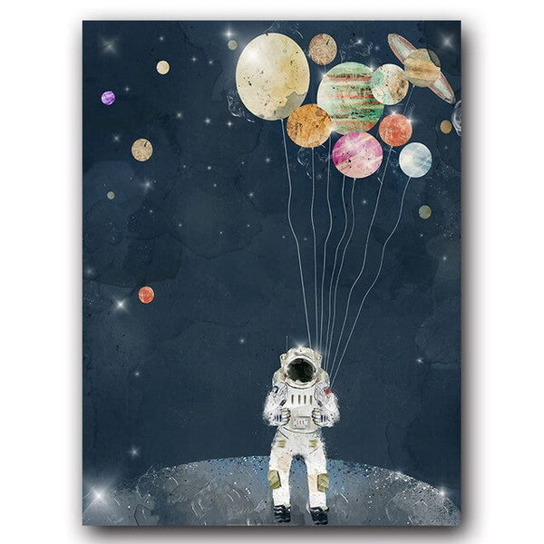 Space Planet Astronaut Fashion Poster Universe Space Canvas Wall Art Print Painting Contemporary Art Picture Home Room Decor