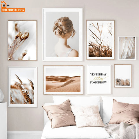 Feather Flower Girl Reed Desert Quotes Nordic Posters And Prints Wall Art Prints Canvas Painting Wall Pictures For Living Room