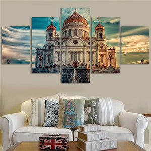 Canvas Painting Wall Art Prints Framed Home Decor 5 Panel The Cathedral Of Christ The Savior Modular Pictures For Living Room