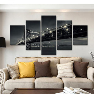 Modern Home Decor Modular Picture 5 Pcs Night Golden Gate Bridge Framed Abstract Canvas Print Painting Wall Art For Living Room
