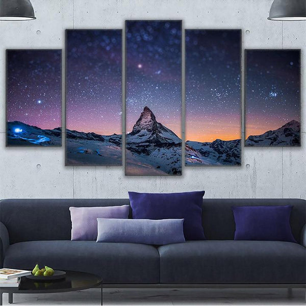 Poster HD Printed Painting Canvas Print 5 Panel Mountain Peaks Home Decor Wall Art Starry Sky Landscape Pictures For Living Room
