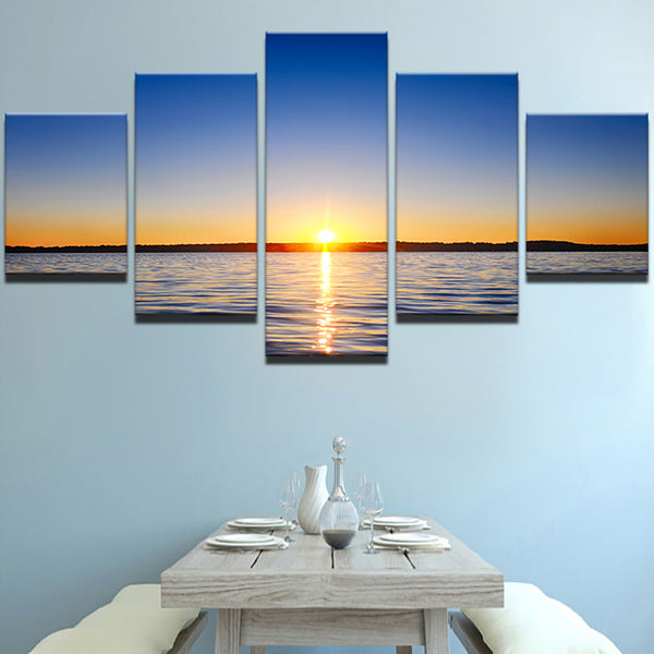 Canvas Painting Poster Wall For Living Room 5 Panels Sunrise Sea Landscape Art Home Decoration Modular Framework Pictures