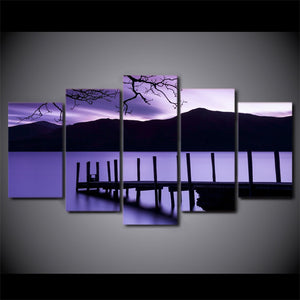 Canvas Painting 5 Panel Purple Landscape Wall Art Prints Home Decor Modular Pictures Wood Bridge Fashion For Living Room Framed