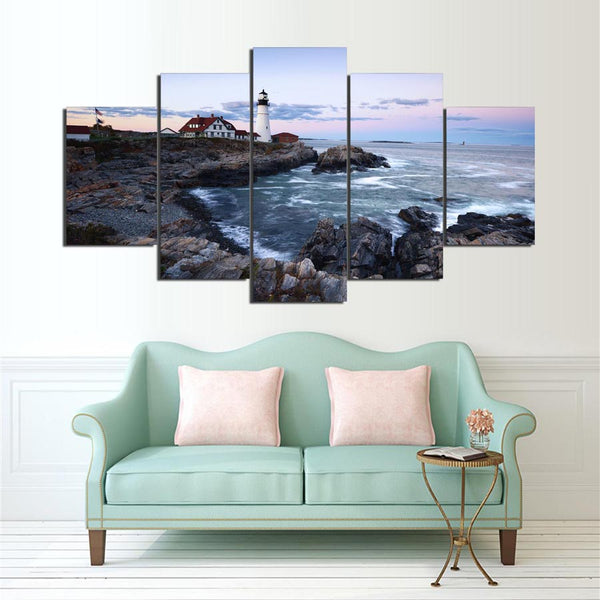 Print Painting For Living Room Home Decor 5 Panel Lighthouse Modular Picture Poster Frame Seaview Landscape High Quality Canvas