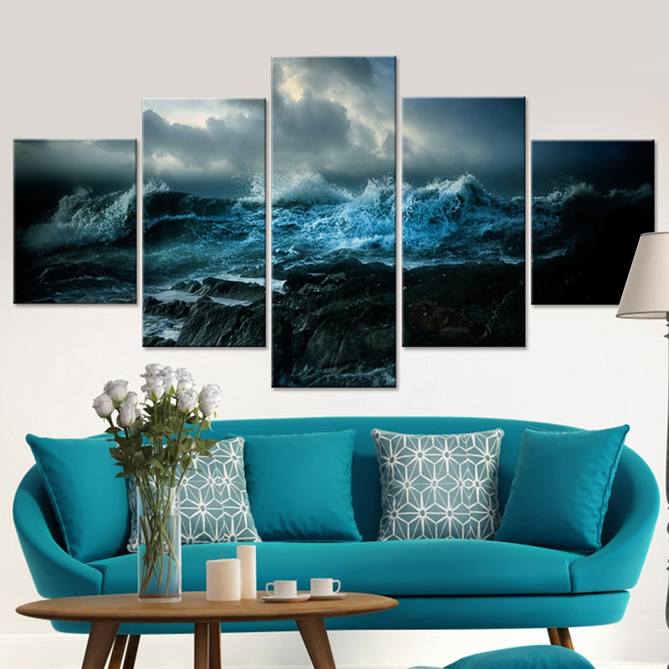 Wall Art Living Room Printed Pictures 5 Panel The Waves Surge Landscape Modern HD Frame Home Decor Canvas Painting Poster