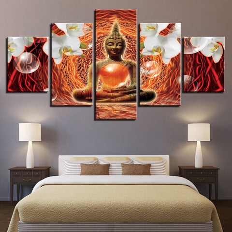 Paintings Canvas Living Room HD Wall Art Prints 5 Pieces Buddha Statue Poster Home Decor Moth Orchid Buddhist Pictures Framework