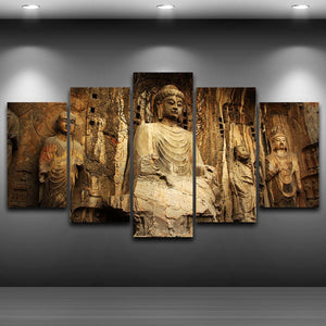 Painting On Canvas Printed Modern 5 Panel Portrait Stone Modular HD Picture Wall Art Home Decoration Posters Frame Living Room