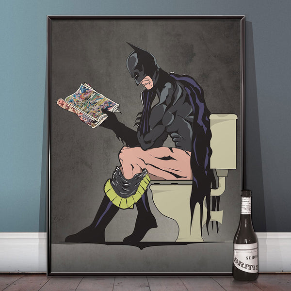 Batman and Cat Woman The Superhero on The Toilet Humour Bathroom Restroom Poster Wall Art Hanging Print Home Decor Unframed