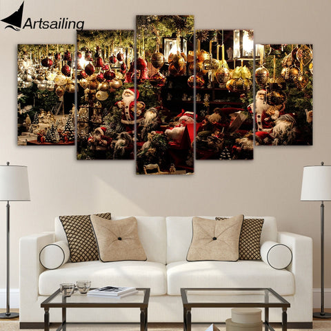 5 piece canvas art HD print crowd christmas decoration festival prints paintings for living room wall free shipping UP-2017B