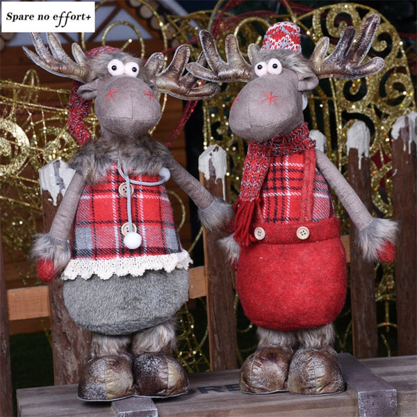 Elk Figures Christmas Decorations for Home Standing Doll Merry Christmas New Year Birthday Gift Xmas Decor Accessories Navidad