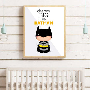 Batman Super Hero Canvas Painting Nursery Wall Art Posters Prints Pictures for Kids Room Home Decor No Frame