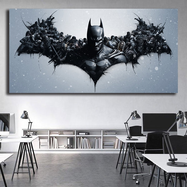 Batman Marvel Super Heroes Black and White Canvas Painting Oil Print Poster Wall Art Picture for Living Room Home Decoration