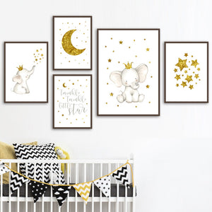Cute Cartoon Elephant Star Moon Nursery Wall Art Canvas Painting Nordic Posters And Prints Wall Pictures Baby Kids Room Decor
