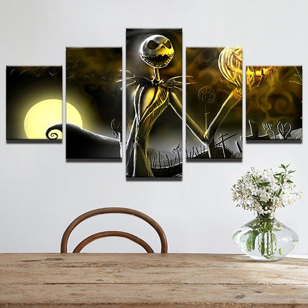 5 Pieces Modern Wall Art Painting Poster Nightmare Before Christmas Canvas Printed Pictures Home Decor For Living Room Artwork